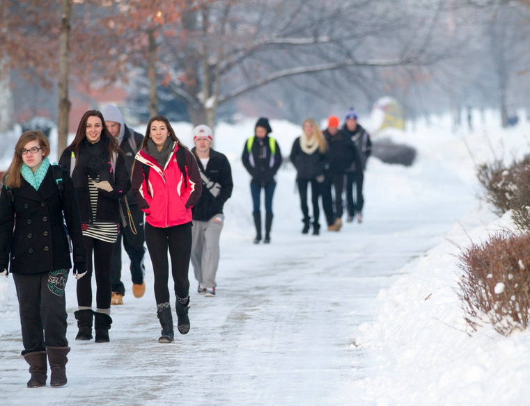 College Students in Winter